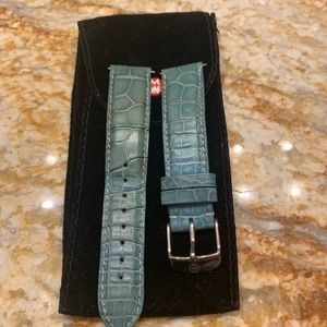 MICHELE turquoise alligator watch strap size 18mm